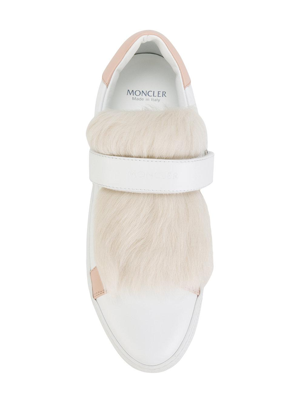 Moncler Fur Victoire Sneakers in White