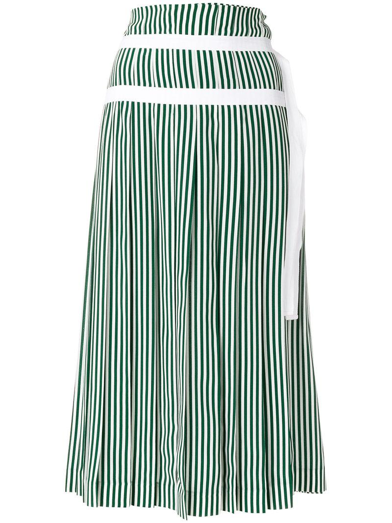 9b15ae9161 JOSEPH Striped Pleated Skirt With Double Belt Detail in Green - Save ...