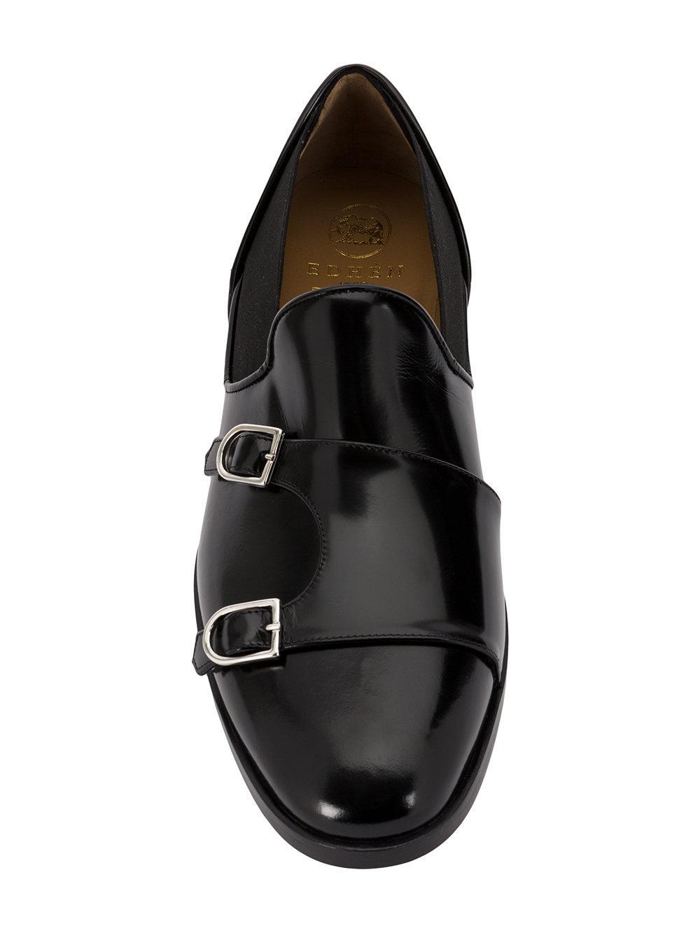 Edhen Milano Leer Monk Loafers in het Zwart voor heren