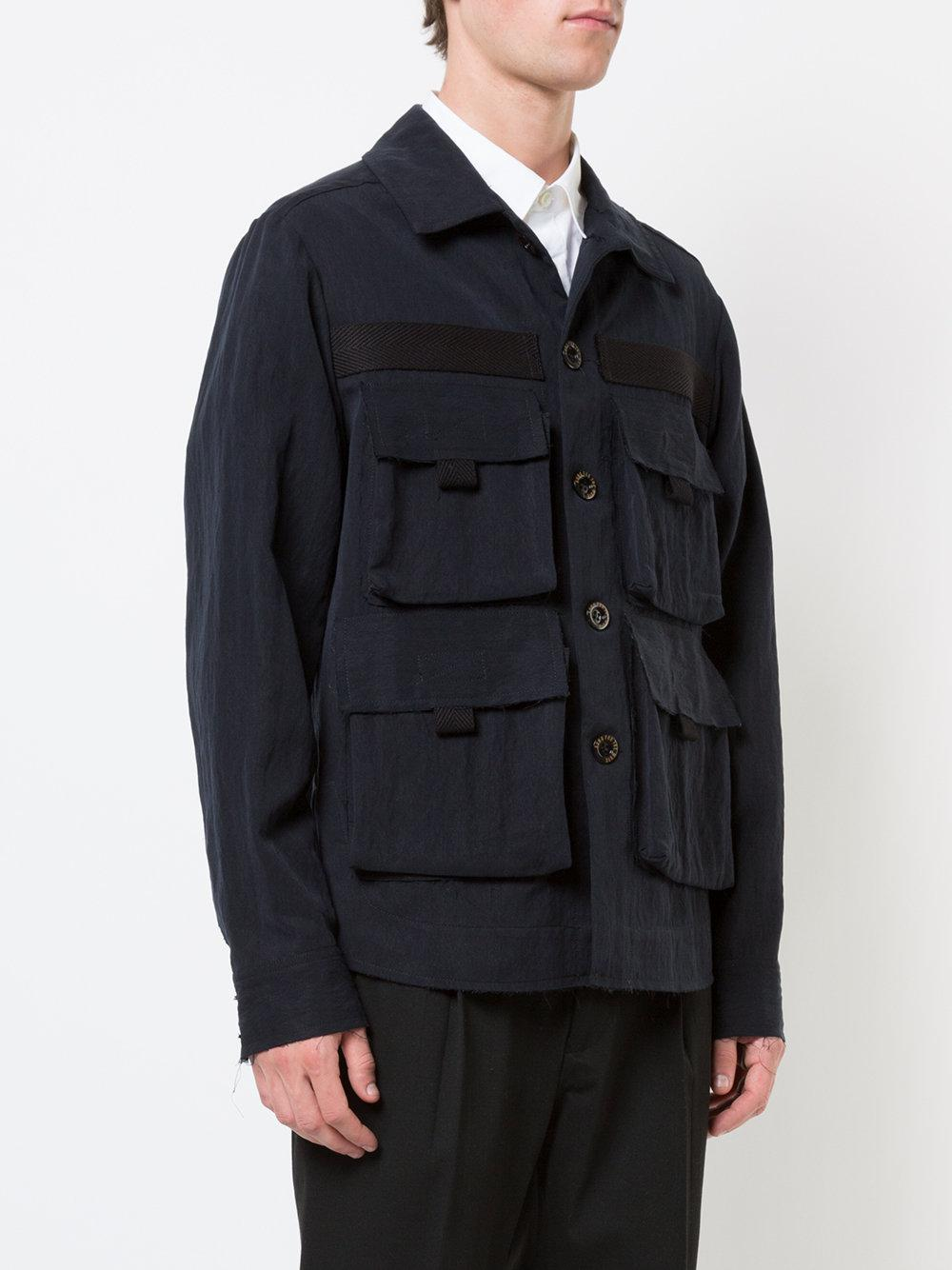 Song For The Mute Synthetic Military Jacket in Black for Men