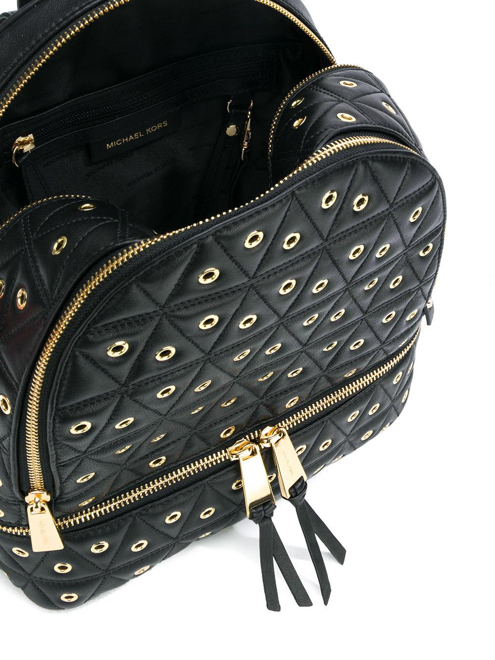MICHAEL Michael Kors Leather Rhea Medium Quilted Backpack in Black