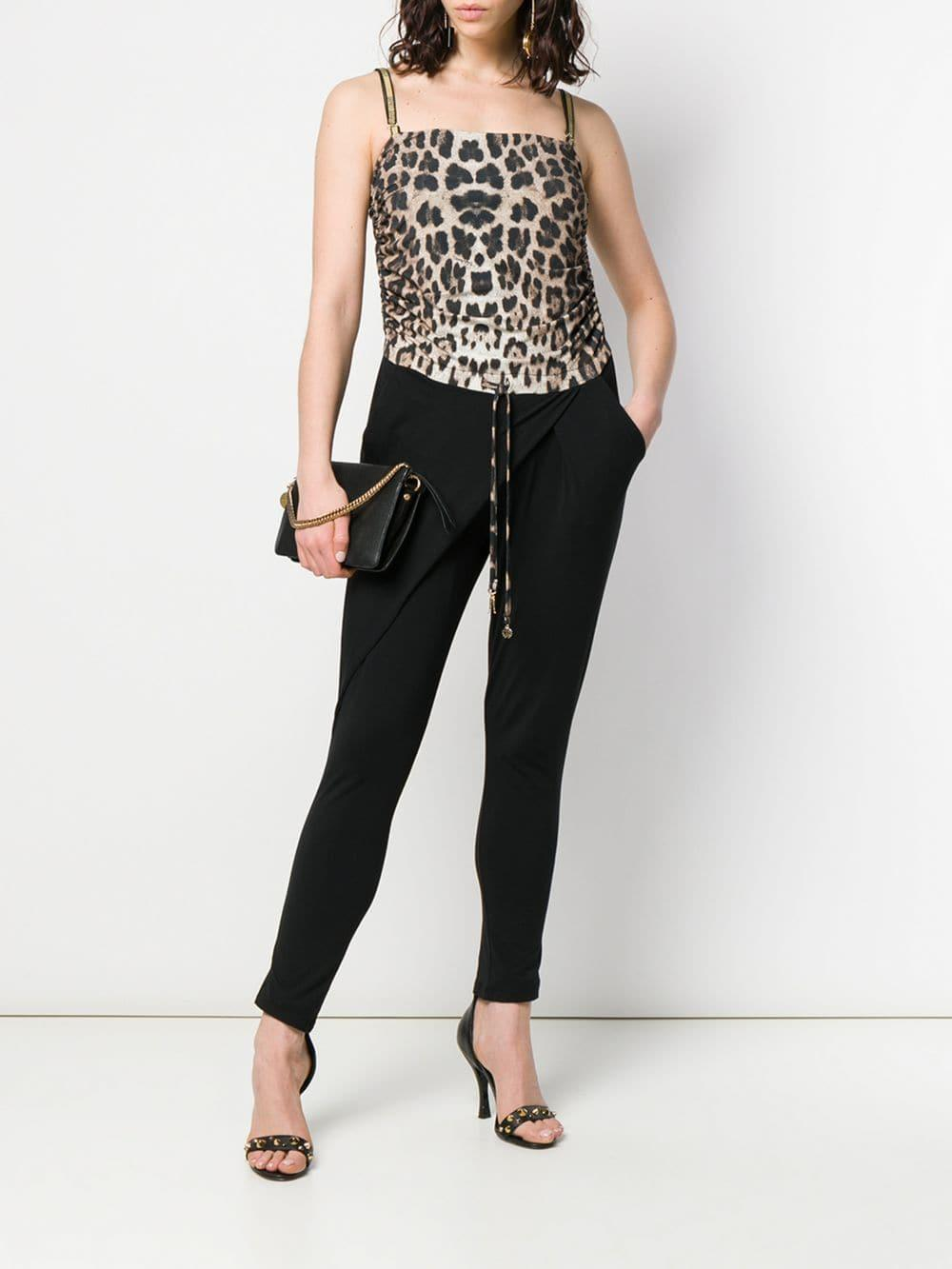 c14d50ecf4 Lyst - Roberto Cavalli Leopard-print Jumpsuit in Black