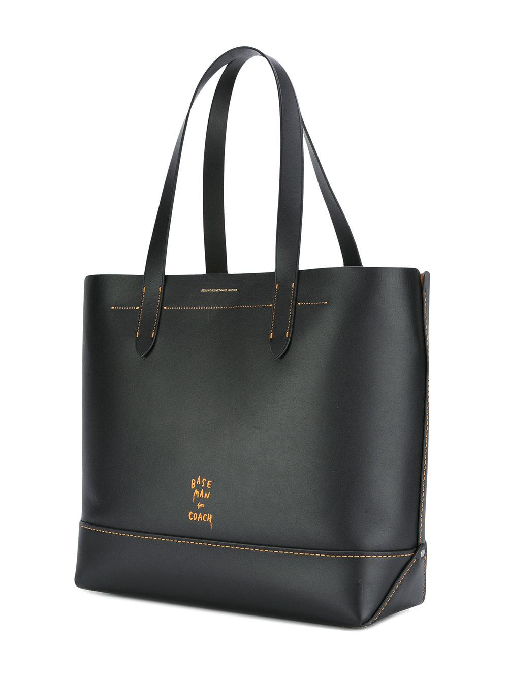 COACH Leather Smiley Print Tote in Black for Men