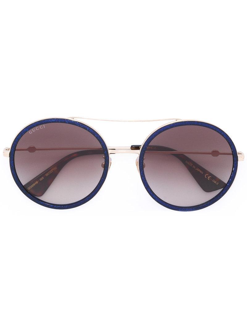 171bb8b7f6 Gucci - Blue Round Frame Metal Sunglasses - Lyst. View fullscreen