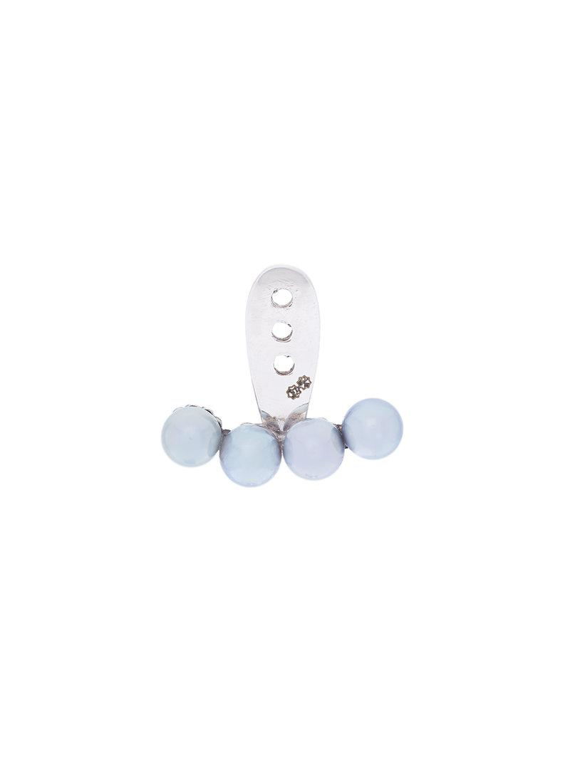 18kt gold petit grey pearl stud earring - Metallic Yvonne L thqqiuEYh