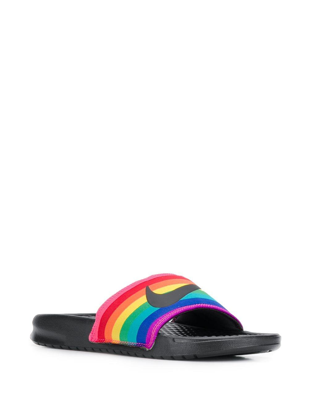 Nike Synthetic Rainbow Slides in Black