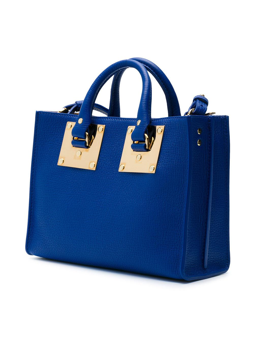 Sophie Hulme Leather Zipped Tote Bag in Blue