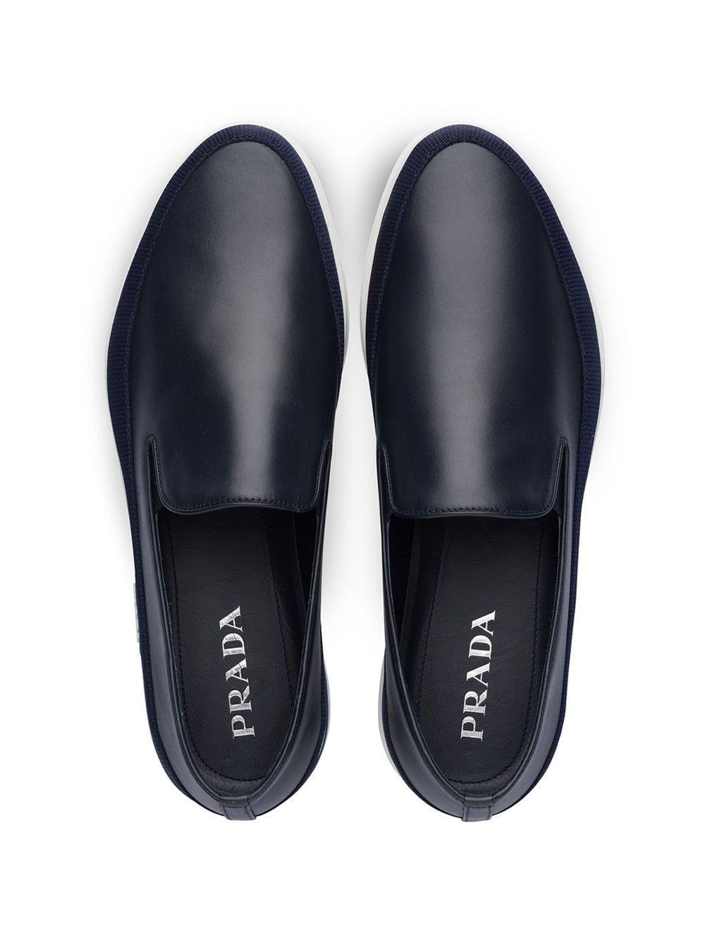 Prada Leer Slip-on Sneakers Van Leer in het Blauw voor heren