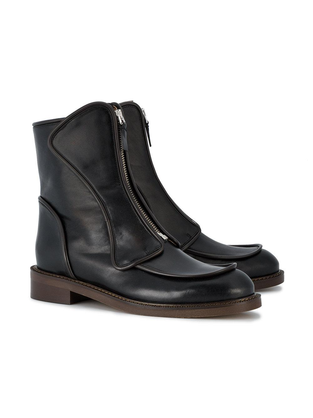 Marni Rubber Flat Ankle Boot With Zip Front in Black