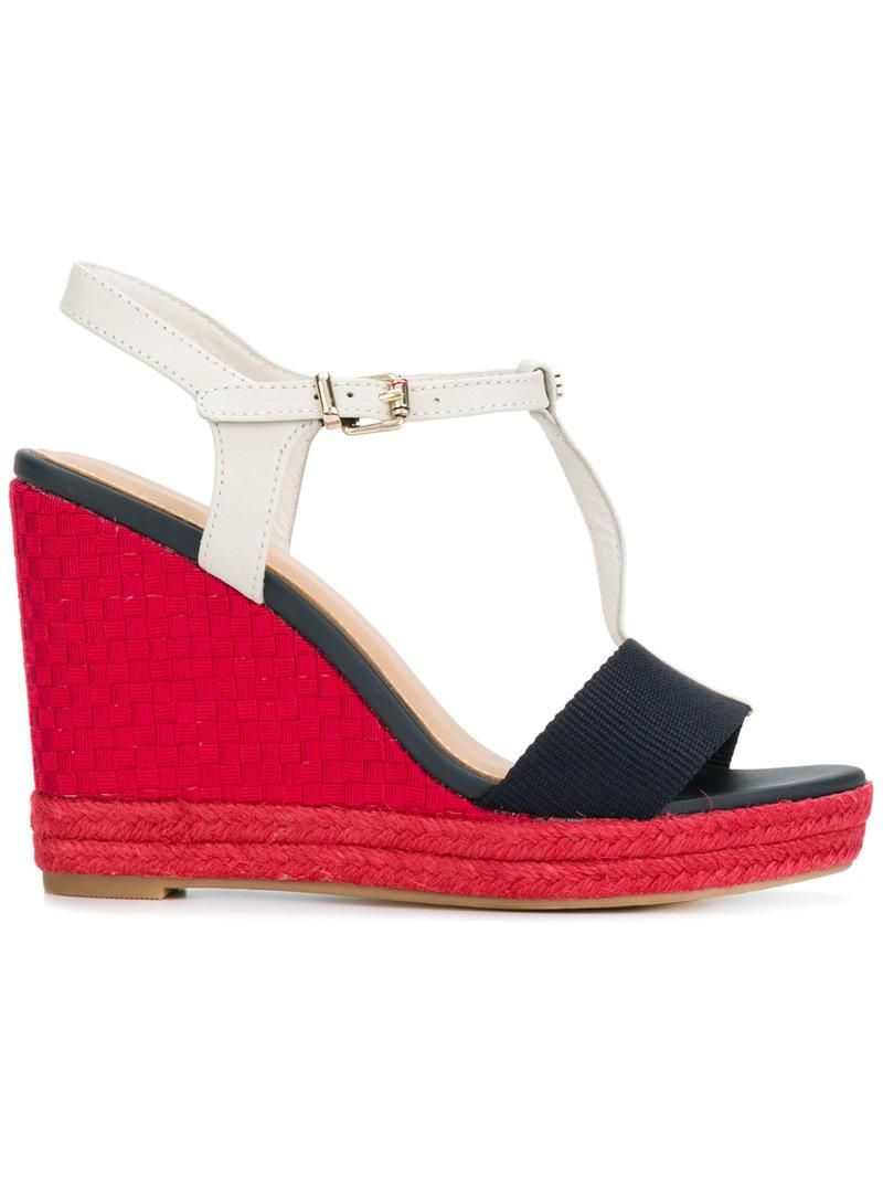 a2abf794964f Lyst - Tommy Hilfiger Woven T-bar Wedges in Red