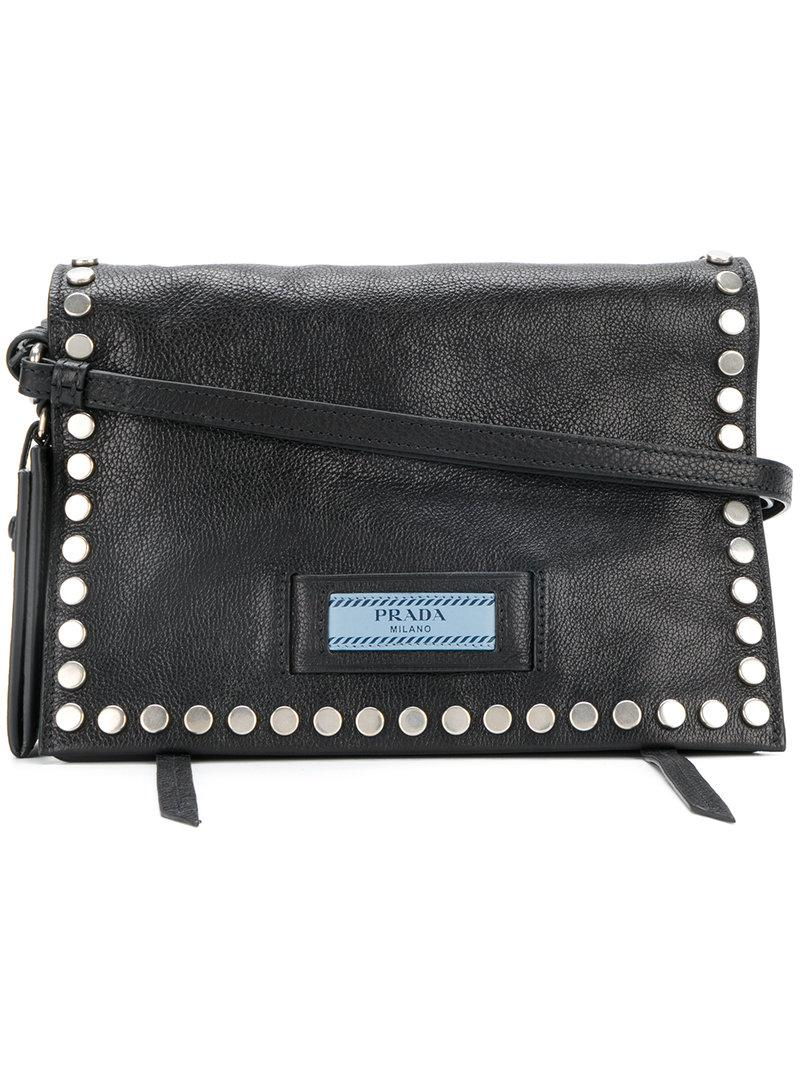 eca1e6fddf52 Lyst - Prada Etiquette Studded Shoulder Bag in Black - Save 10%