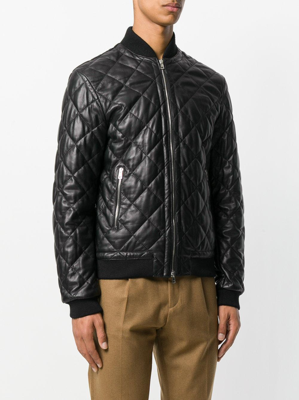 Lyst low brand quilted bomber jacket in black for men for Quilted jackets for men
