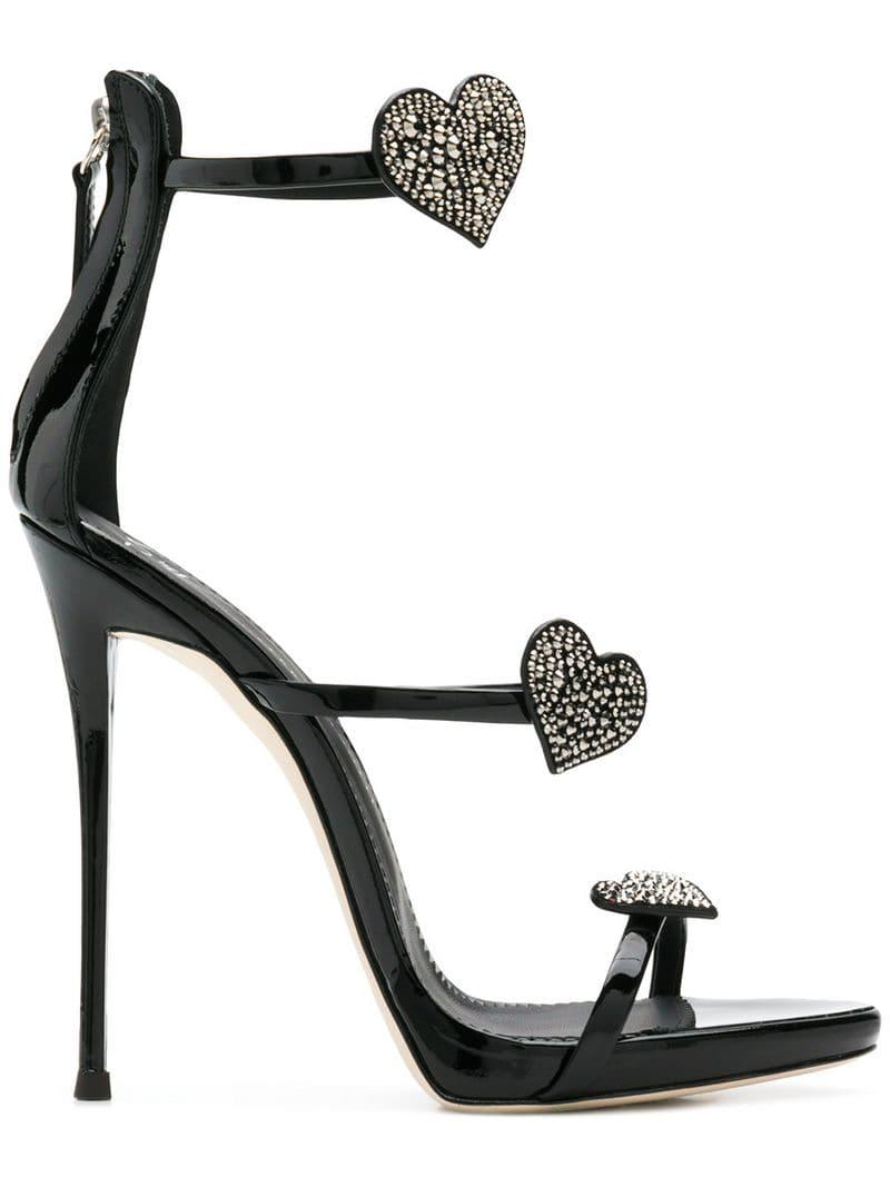 29ac7925e63c Lyst - Giuseppe Zanotti Coline Swarovski Heart Sandals in Black