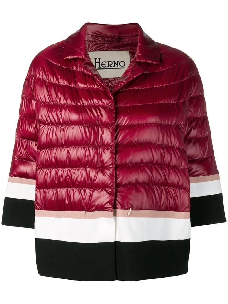 5da9a9f635d Herno - Red Striped Padded Jacket - Lyst. View fullscreen