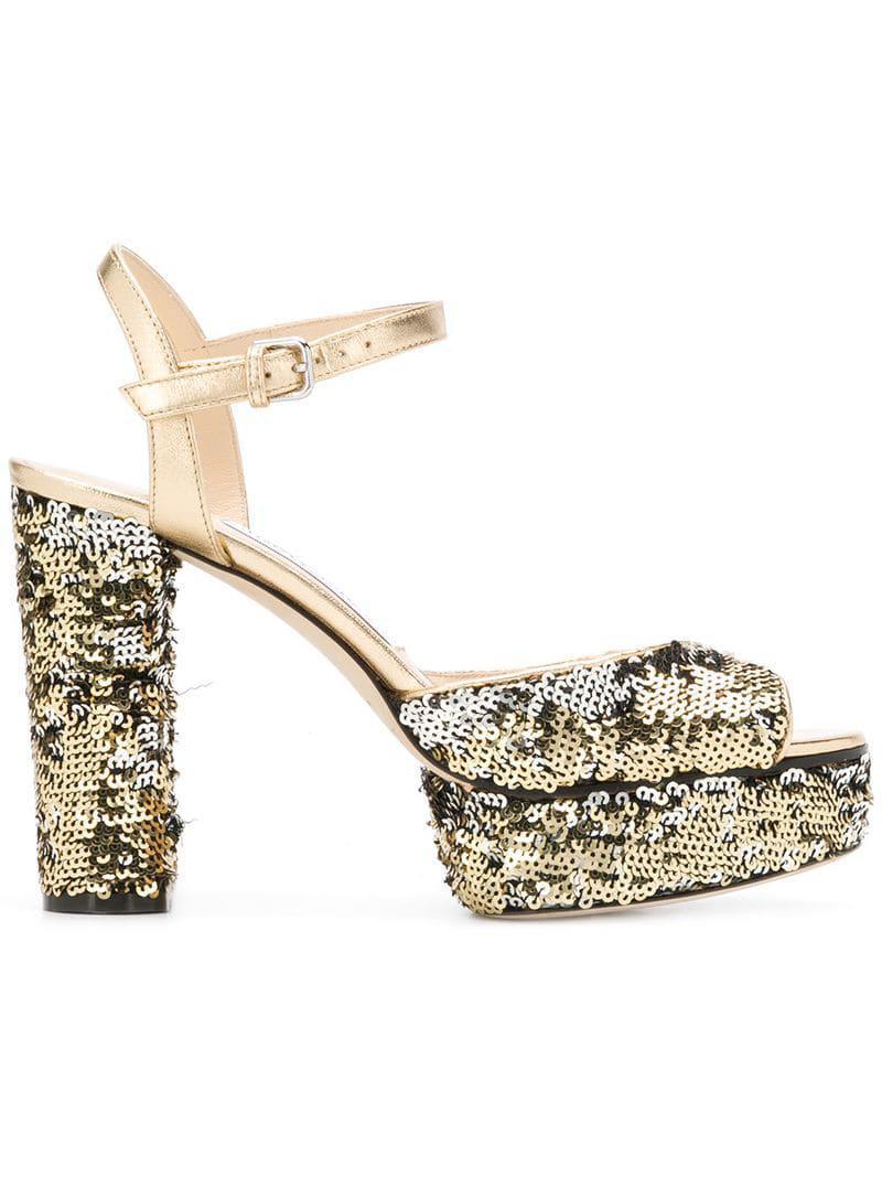 73e2b3bb95a Jimmy Choo Peachy 105 Sandals in Metallic - Save 15.081521739130437 ...