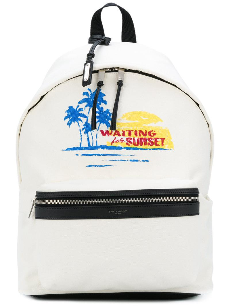bca331ca2b Saint Laurent - White Summer Printed Backpack for Men - Lyst. View  fullscreen