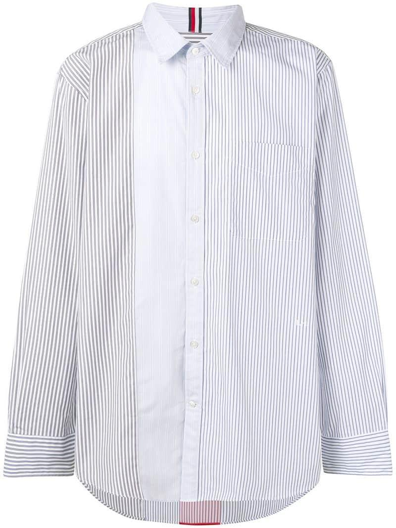 fac2cf67 Lyst - Tommy Hilfiger Contrast Panel Striped Shirt in White for Men