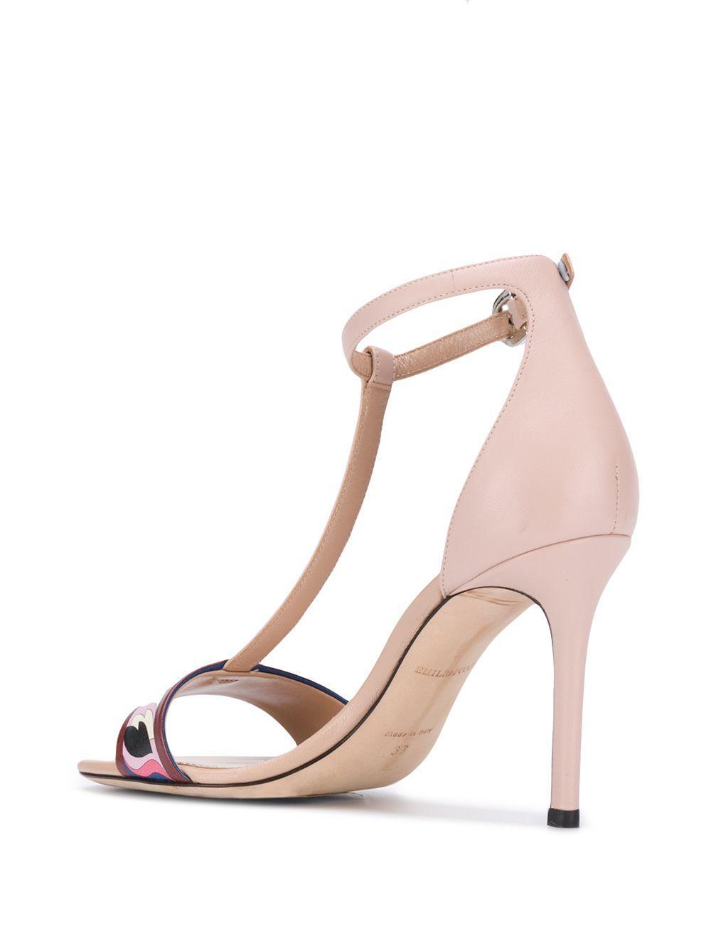 Sandales à détail imprimé en Cuir Emilio Pucci