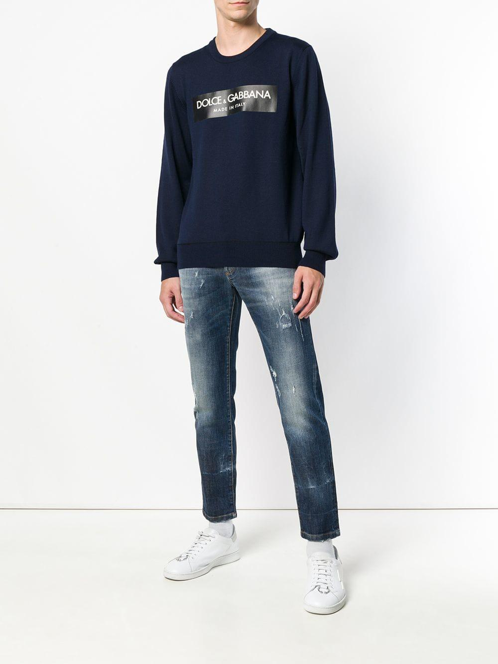 Dolce & Gabbana Denim Faded Slim Fit Jeans in Blue for Men
