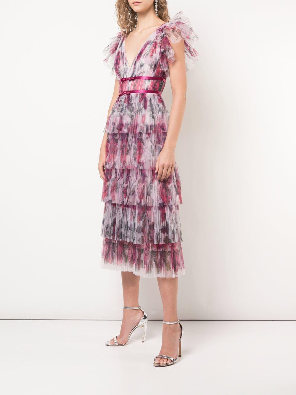 Vestido con volantes y plisado Marchesa notte de Tejido sintético de color Rosa