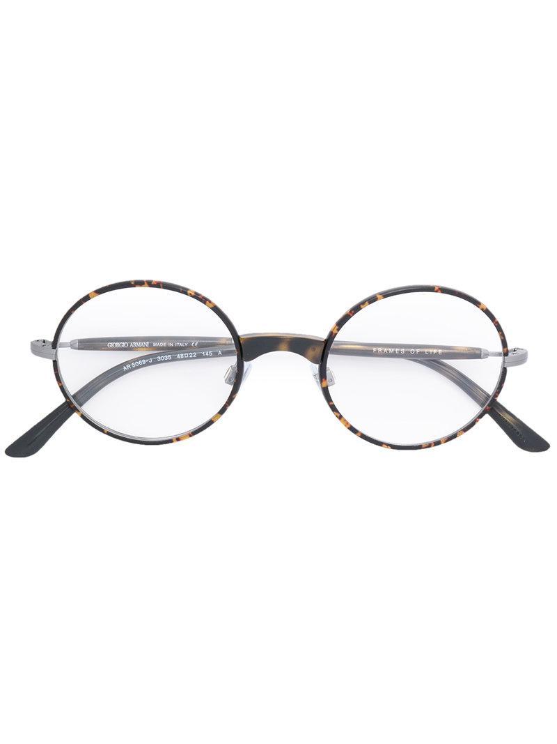 7b0ad7cab044 Giorgio Armani Round Frame Glasses in Brown - Lyst