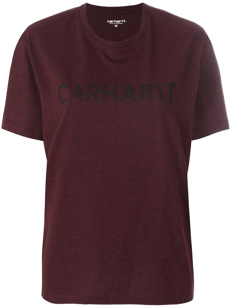 Lyst carhartt logo print t shirt in red for Carhartt burgundy t shirt