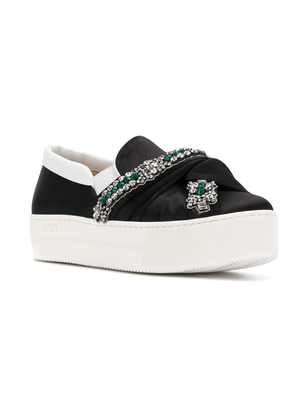 N°21 Silk Knotted Platform Embellished Sneakers in Black