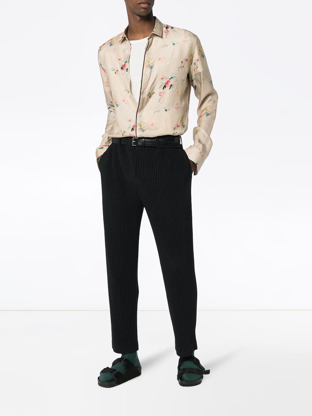 Haider Ackermann Floral Print Satin Long Sleeve Shirt in Beige (Natural) for Men