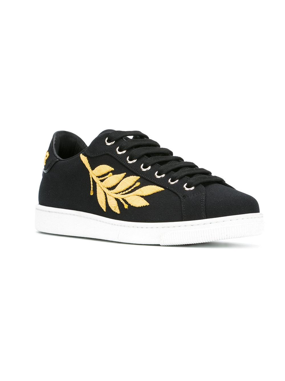 DSquared² Cotton Embroidered Trainers in Black for Men