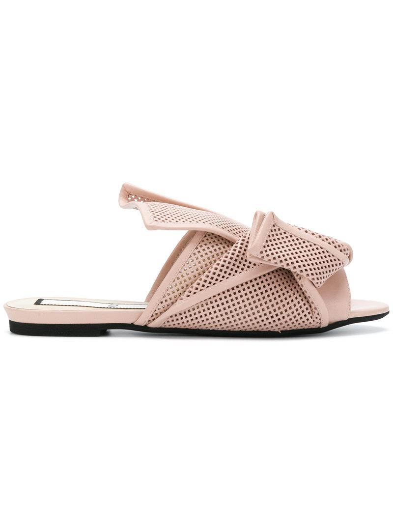 abstract bow mesh sandals - Nude & Neutrals N Ig2QFzR