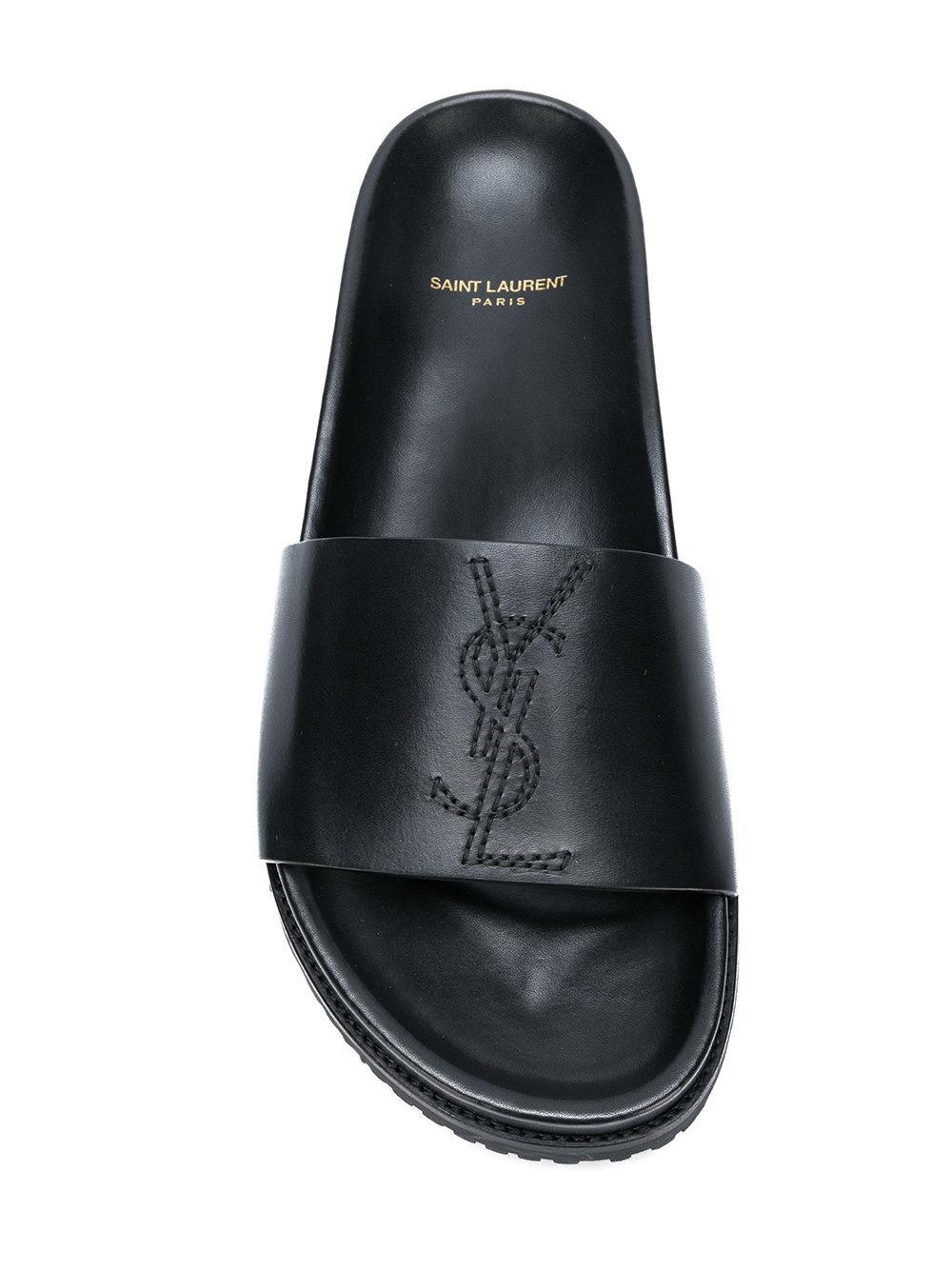 28f1e2d8c57 Saint Laurent - Black Jimmy Logo Slides for Men - Lyst. View fullscreen