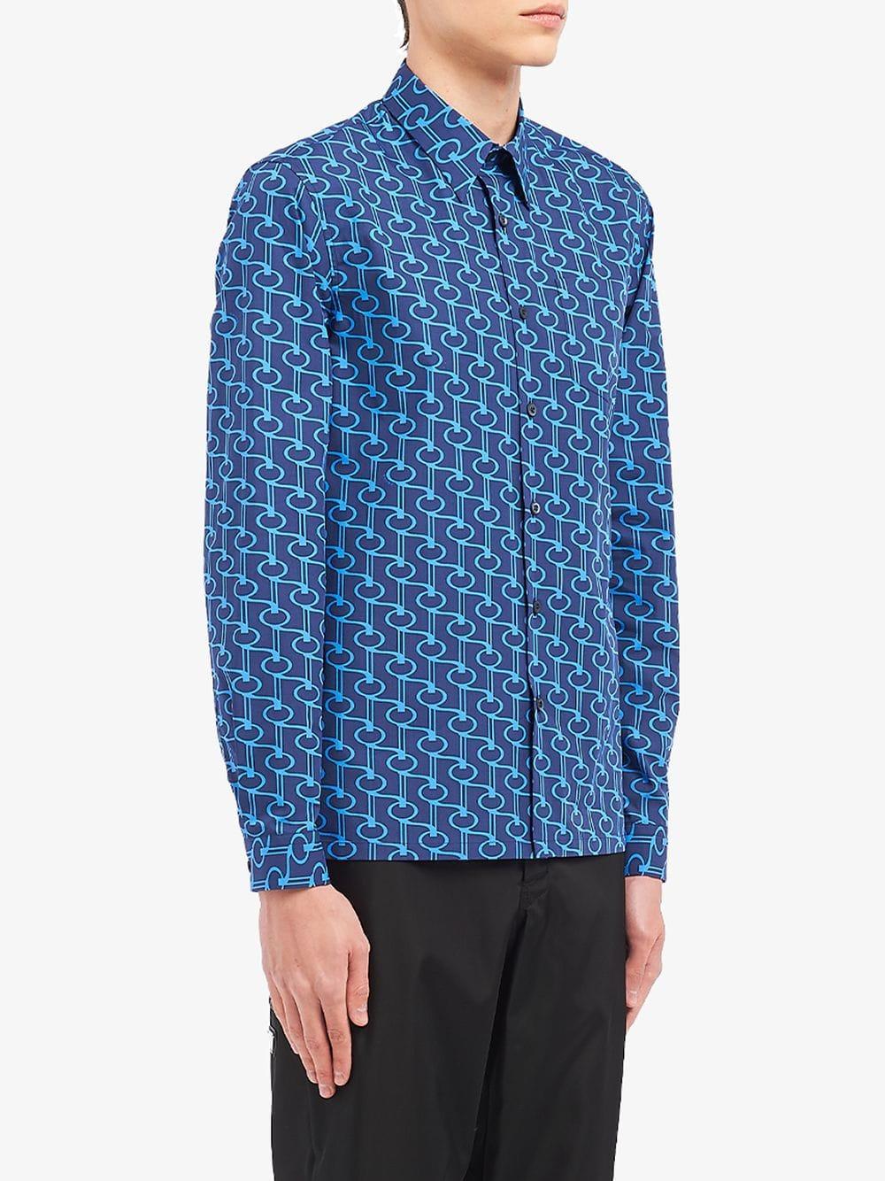 1d3951716e Prada Poplin Shirt With Key Print in Blue for Men - Lyst