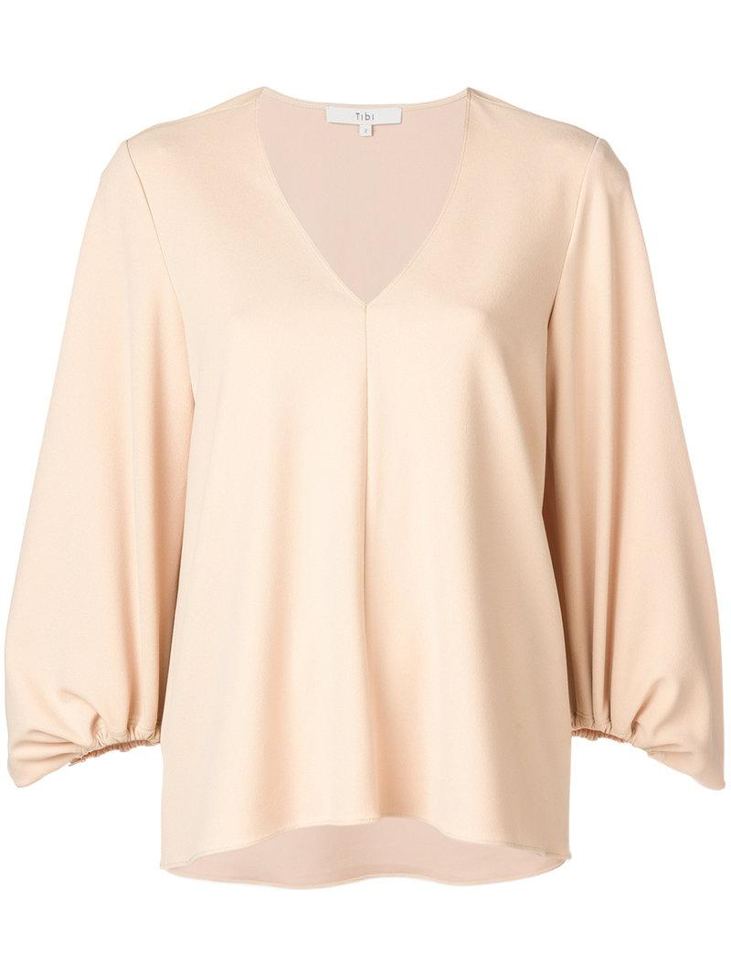 Buy Online New Recommend Discount structured v-neck blouse - Nude & Neutrals Tibi FOk4Ec