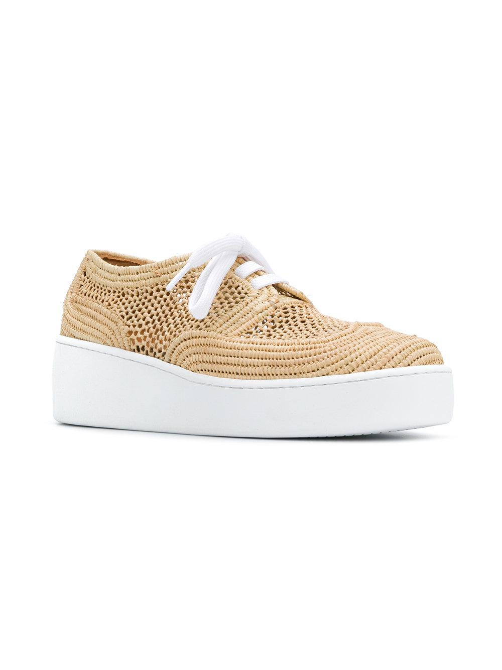 Clergerie Leather Lace Up Sneakers in Natural