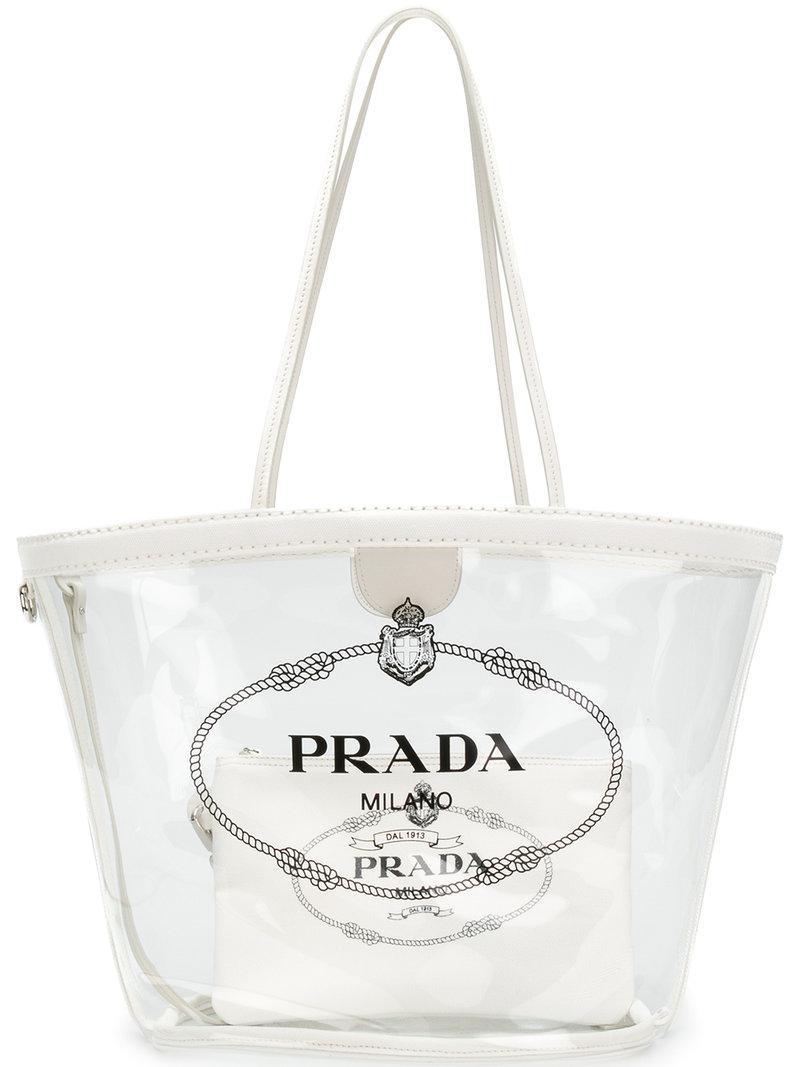 8f9b6c366780 Lyst - Prada Transparent Logo Print Tote in White