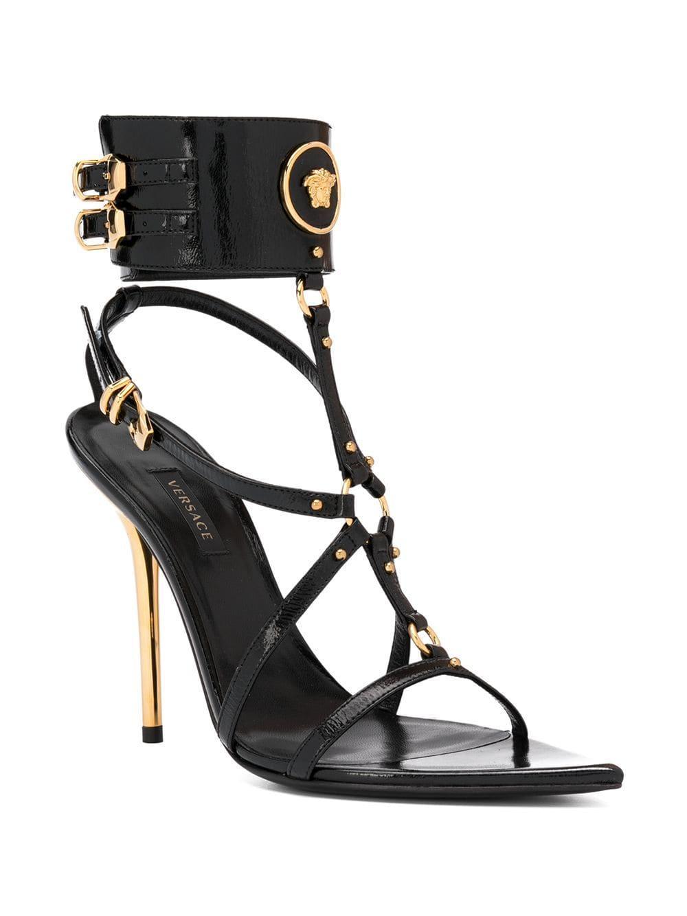 Sandales à design à brides Cuir Versace en coloris Noir