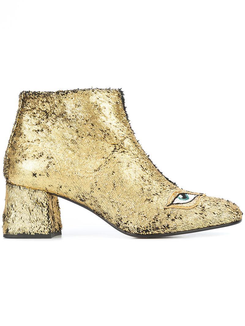 Figue sequin eye motif booties - Metallic farfetch beige A Precio Reducido Para El Precio Barato Para Comprar Barato Fotos Venta En Línea BBGB4Y855
