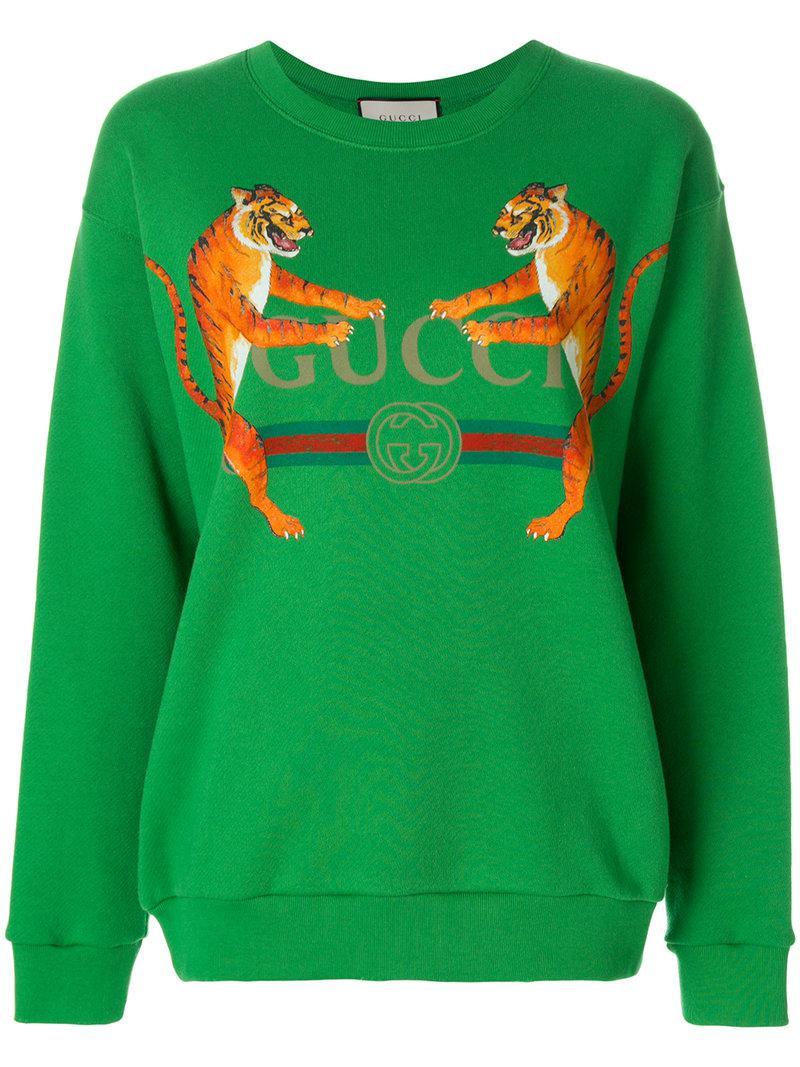 507220875cd Gucci Logo With Tigers Sweatshirt in Green - Lyst