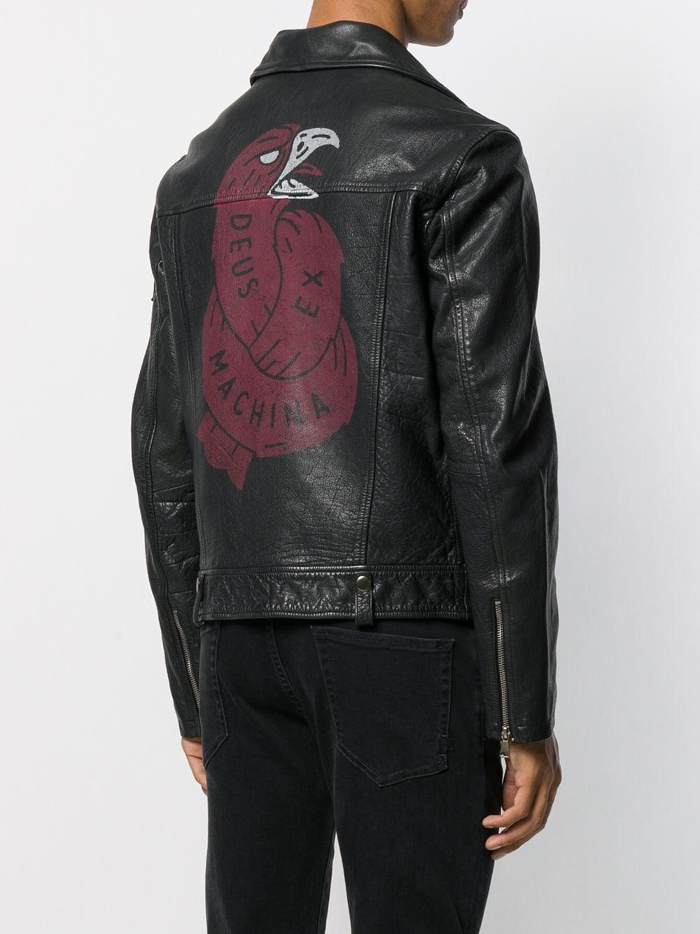 Deus Ex Machina Synthetisch Bikerjack Met Badge Detail in het Zwart voor heren
