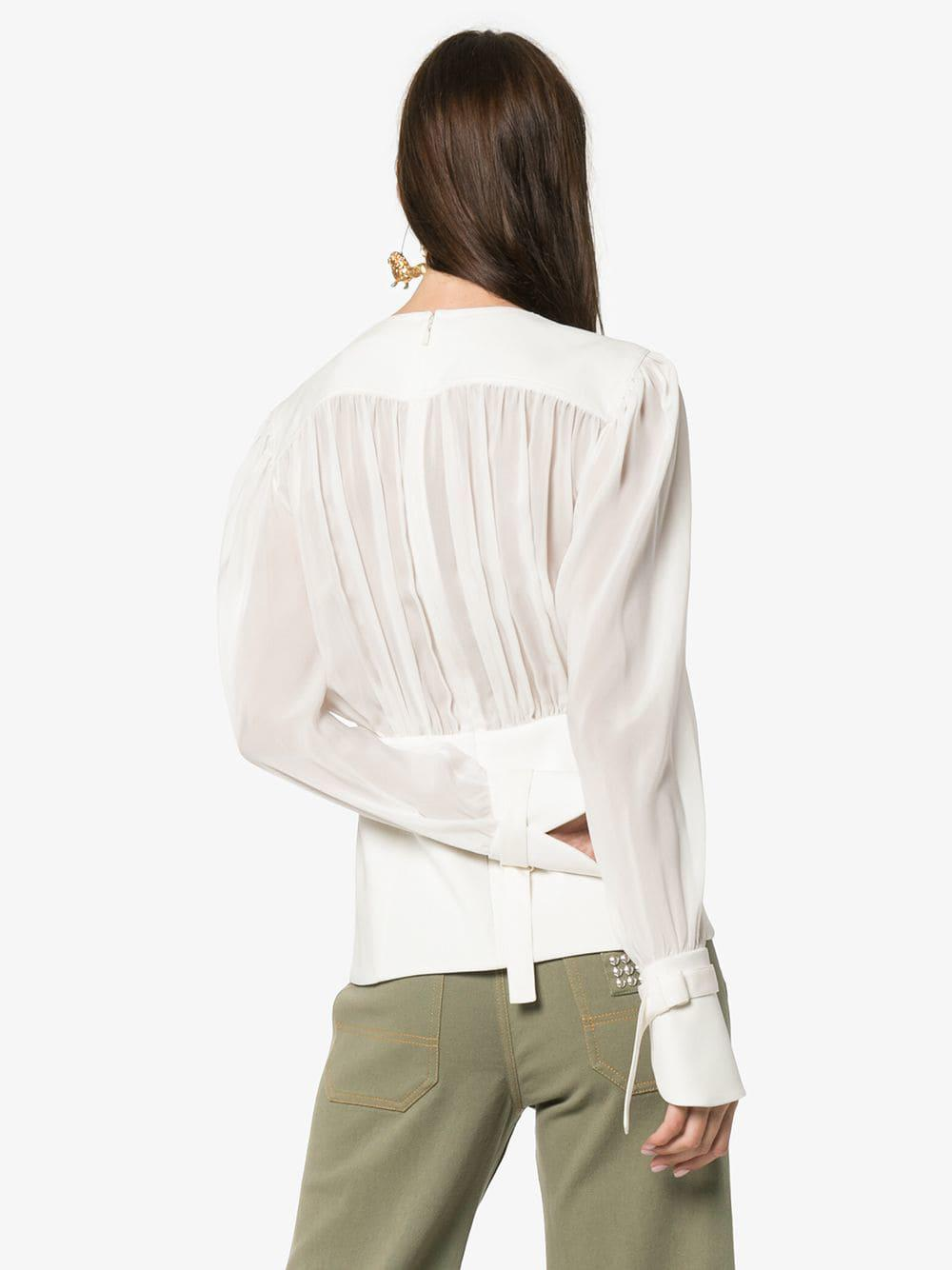 cd25b6ac944a7 Chloé - White Sheer Gathered Silk Blouse - Lyst. View fullscreen