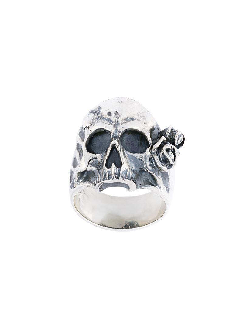 Maison Recuerdo skull rose ring - Metallic Ne8U4G