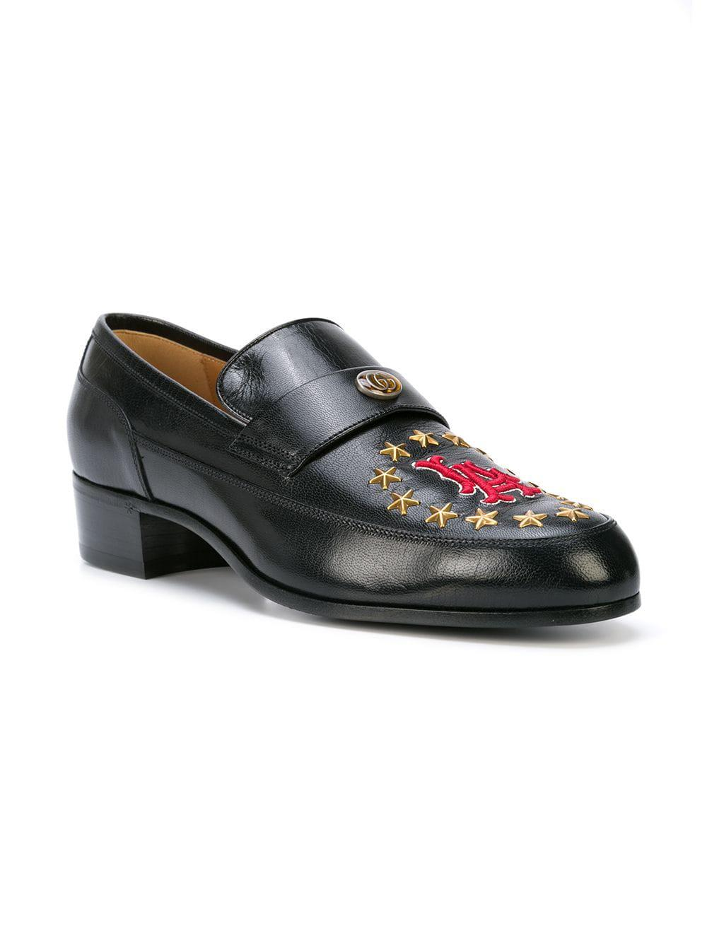 693b98d73db Lyst - Gucci Leather Loafer With La Patch in Black for Men
