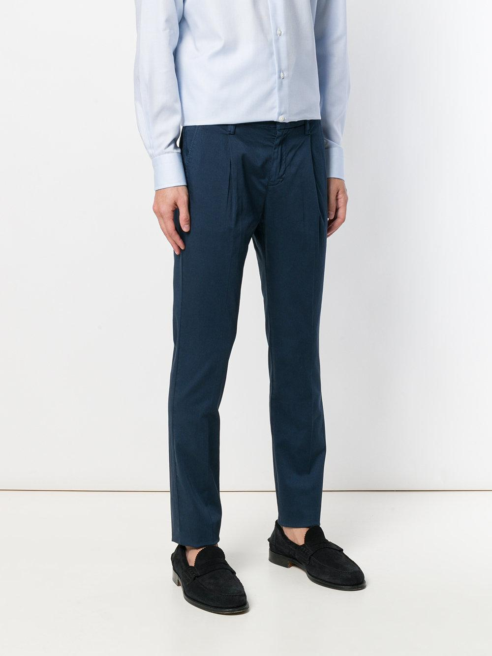 Entre Amis Cotton Straight Fit Trousers in Blue for Men