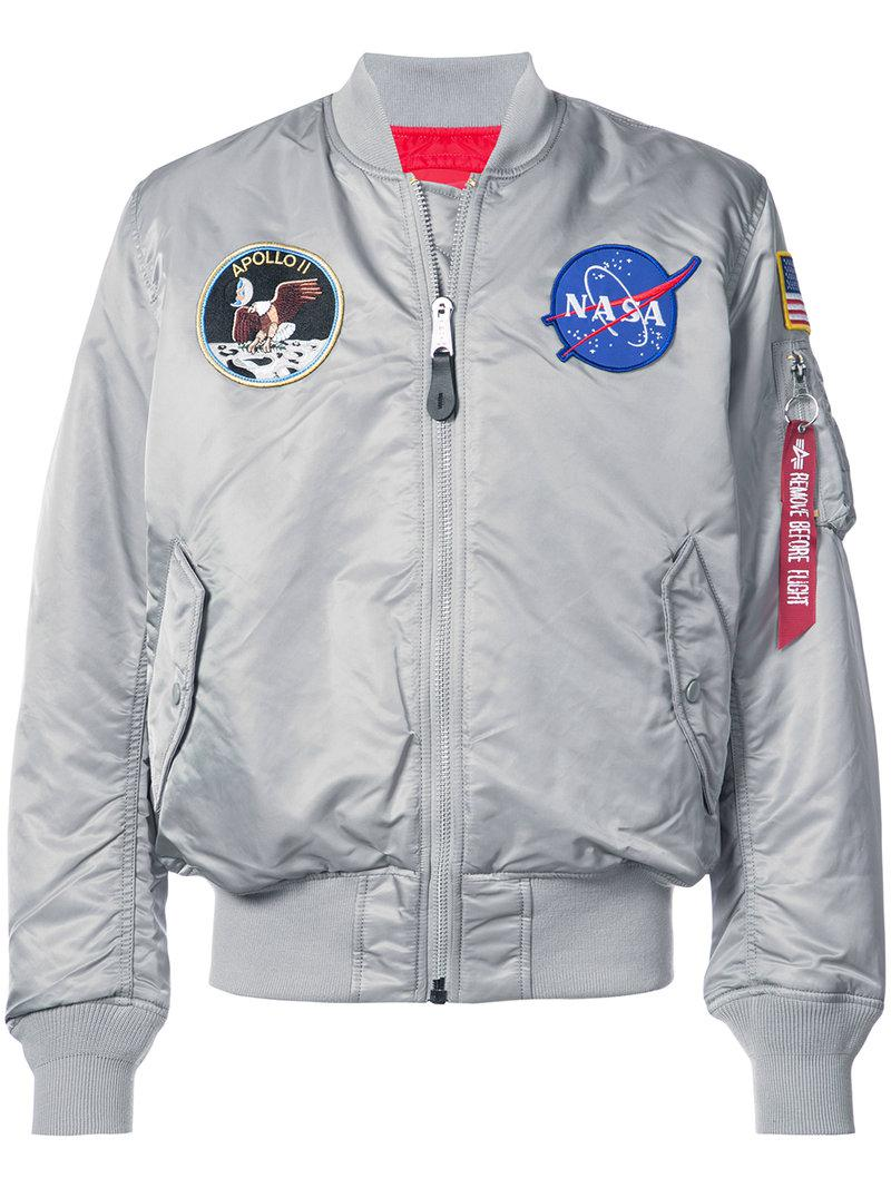 Lyst - Alpha Industries Reversible Nasa Bomber Jacket in Gray for Men b78a9755364