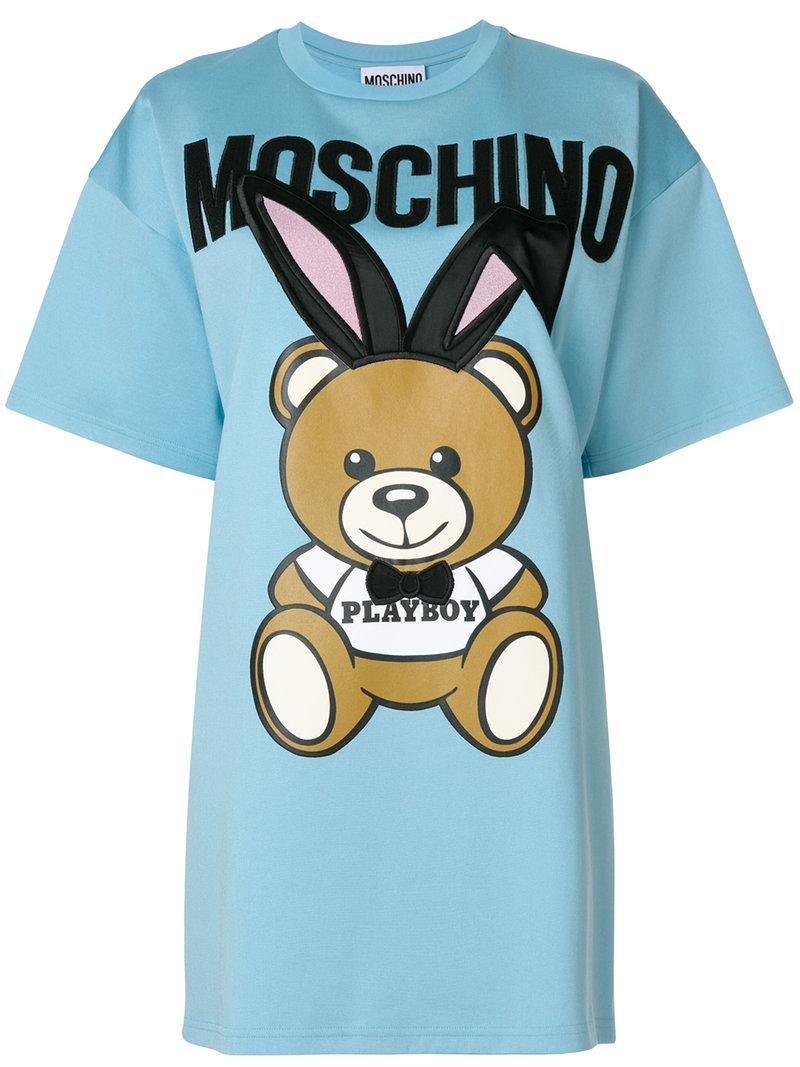 Moschino. Women's Blue Playboy Toy Bear T-shirt Dress