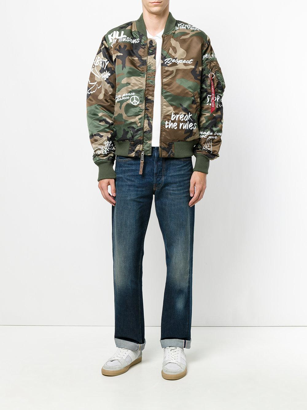 Alpha Industries Synthetic Camouflage Cnd Bomber Jacket in Green for Men