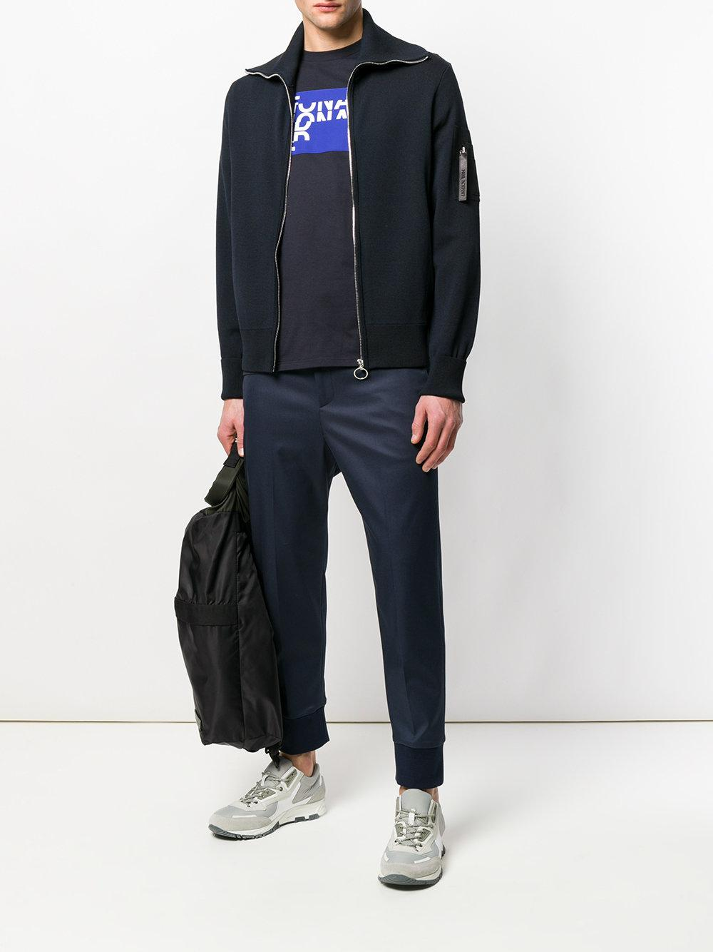 Neil Barrett Cotton Slim Fit Trousers With Elasticated Cuffs in Blue for Men