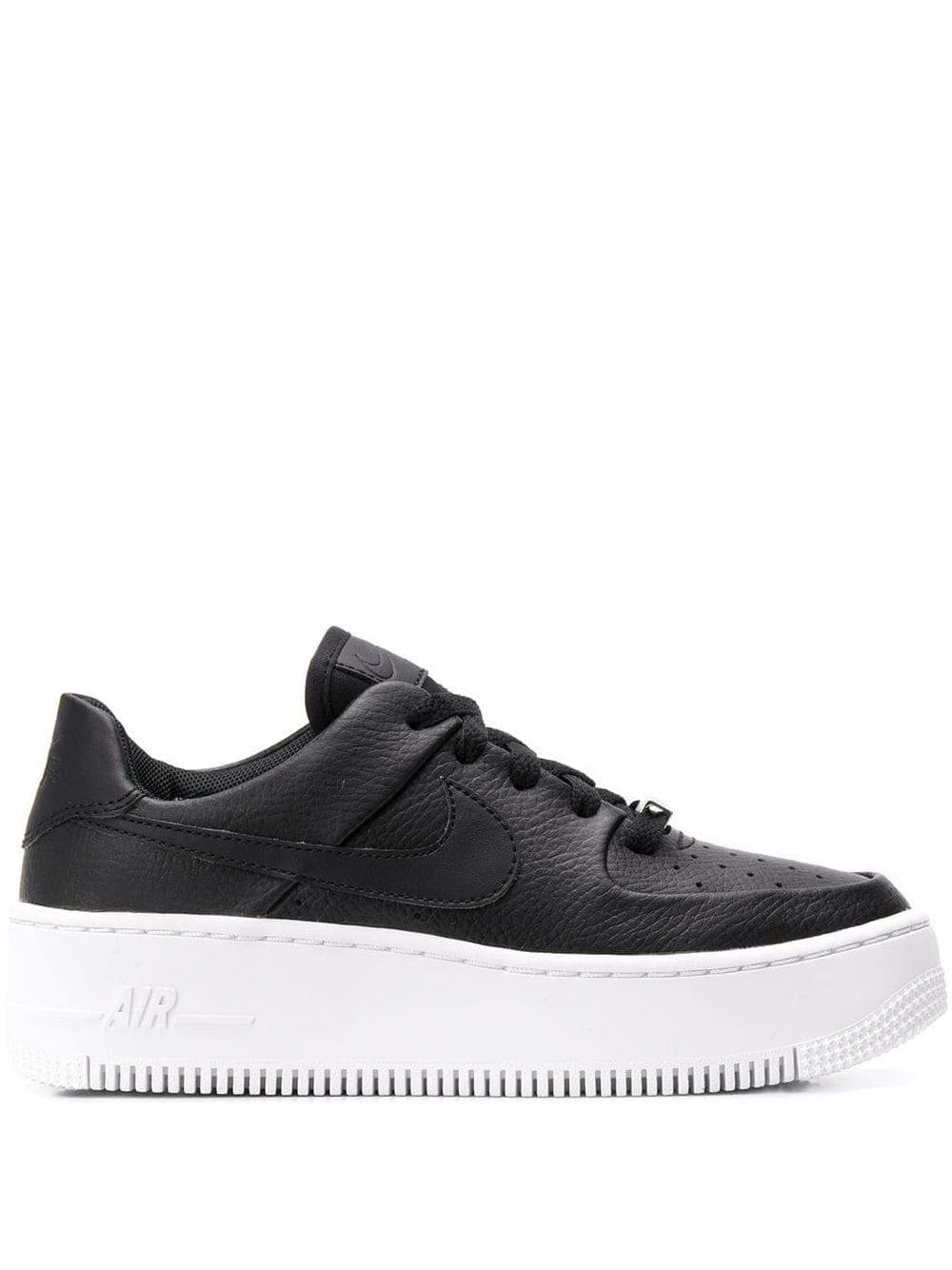 Nike Leather Air Force 1 Sage Low Basketball Shoes in Black/Black ...