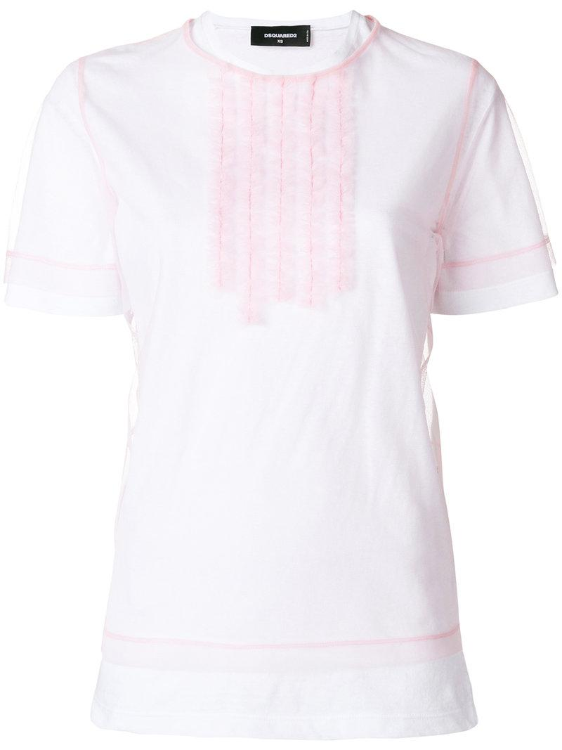 60192acd30727 DSquared² Ruffle Front T-shirt in White - Lyst