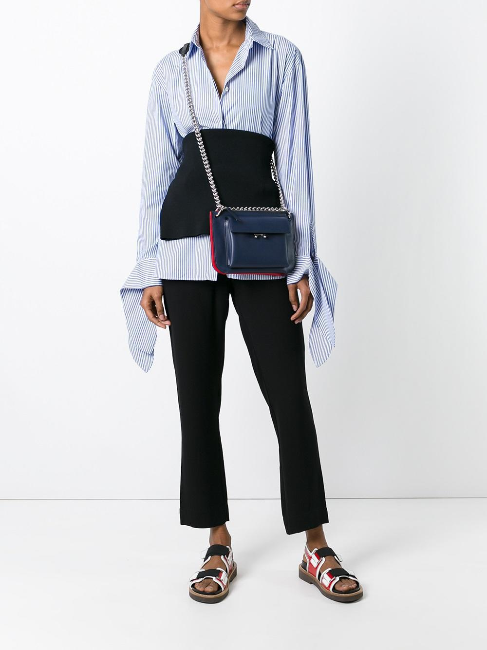 Marni Leather Two Tone Pocket Crossbody Bag in Blue